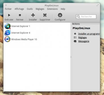L'écran d'accueil présente les différents programmes installés