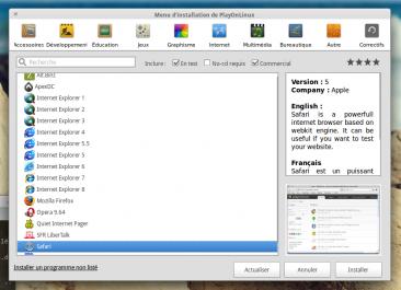 Dans cette fenêtre vous pouvez apercevoir l'ensemble des programmes supportés par PlayOnLinux