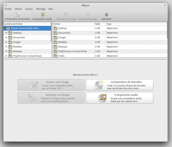 Interface de Xfburn, l'intégration avec elementary OS n'est pas parfaite à 100%