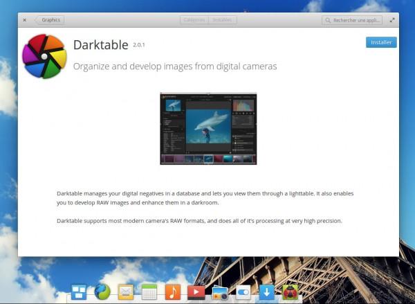 Installer Darktable à partir de l'AppCenter