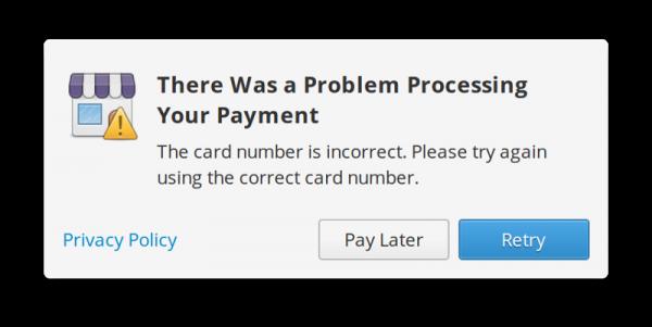 Si AppCenter rencontre un problème, le message d'erreur sera plus précis.