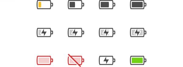 De nouveaux icones liés à la batterie sont maintenant disponibles